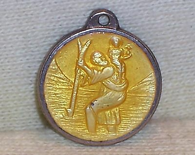 VINTAGE Sterling Silver YELLOW Enamel SAINT CHRISTOPHER Medal
