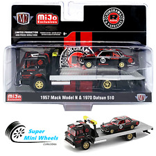 1:64 M2 Machines *MiJo* CHASE Black 1957 Mack N Rollback /& 1970 Datsun 510 *NIP*