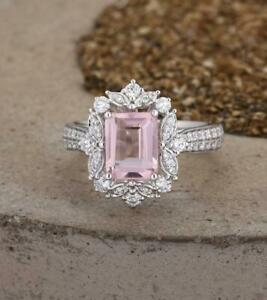 2Ct-Emerald-Cut-Peach-Morganite-Halo-Engagement-Ring-14K-White-Gold-Over
