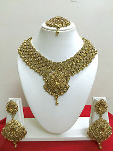 New Indian Bollywood Costume Jewellery Necklace Set Gold Design