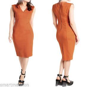New-Ex-M-amp-S-Ladies-V-Neck-Cap-Sleeve-Office-Bodycon-Midi-Shift-Dress-8-22-RRP-29