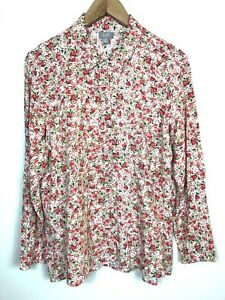 Womens-J-Jill-Petite-Floral-Pink-Green-Rayon-Button-Down-Blouse-Medium-PM