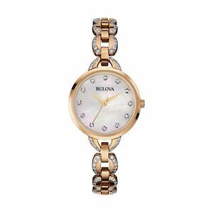 Bulova-Women-039-s-Quartz-Crystal-Bracelet-Mother-of-Pearl-Dial-21mm-Watch-98L207