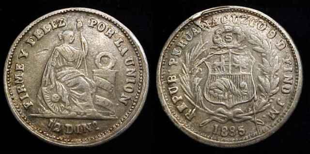UNC. 1917 PERU SILVER 1//2 DINERO