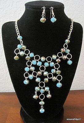Trendy Faceted Faux Gem Bubble Necklace Set,Turquoise,Gold Tone,Bib,Prom,Bridal