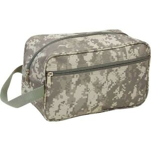 "11"" TOILETRIES BAG Green ACU Camo Travel Water Resistant Mens Toiletry Shave Kit"