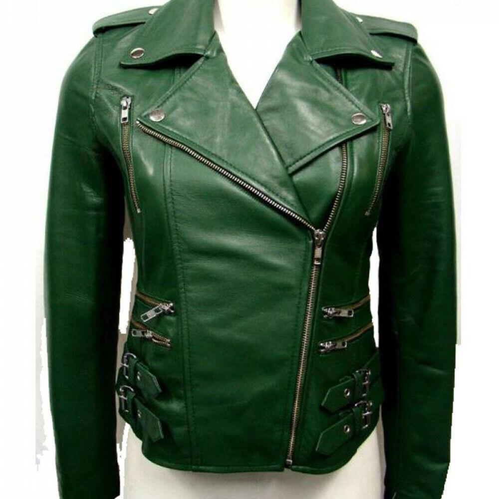 Women's Green Real Leather Biker Jacket Slim Fit Motorcycle Designer Jacket