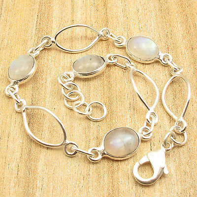 LATEST STYLE ! 925 Silver Plated RAINBOW MOONSTONE FASHION BRACELET 7 7/8 Inches