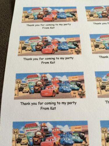 21 Cars Characters Personalised Party Bag Stickers Favour Labels