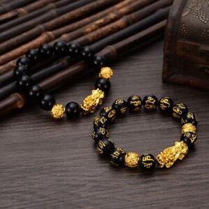 Feng-Shui-Black-Bead-Alloy-Wealth-Bracelet-with-Golden-Pixiu-Charms-Jewelry-DE