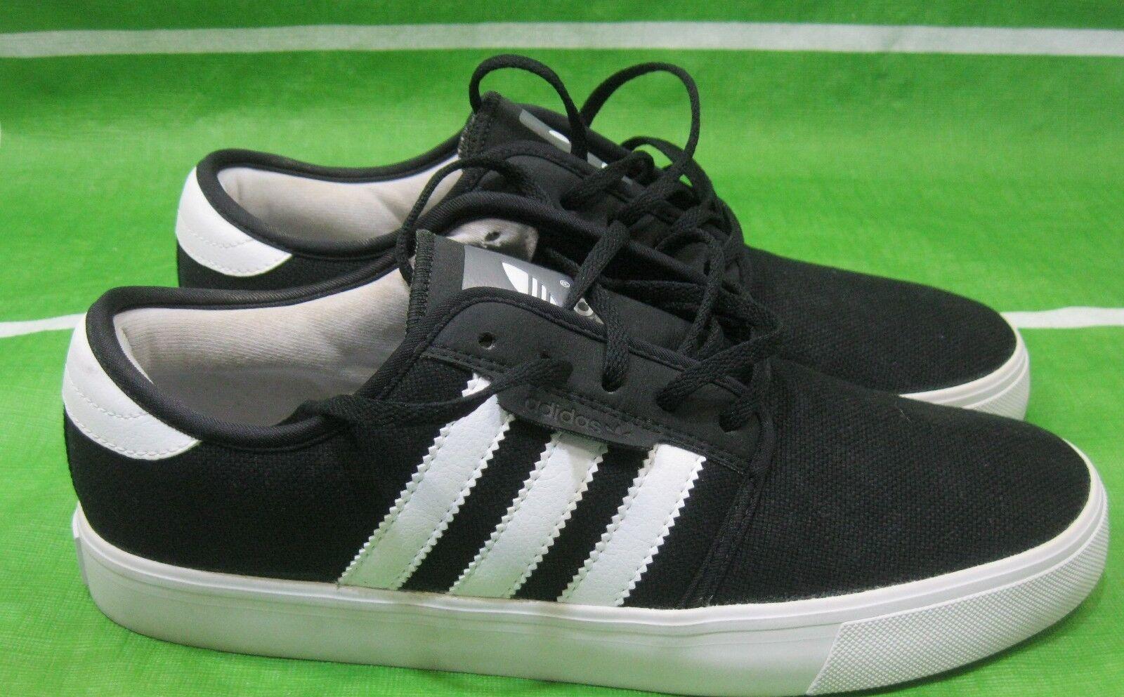 Adidas Originals Men's Seeley Canvas Sneaker, G23703, Black/White  Size 8