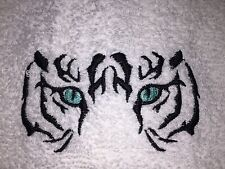Embroidered White Bathroom Hand Towel & Wash Cloth Set- H0990 TIGER FACE WITH