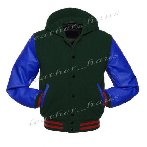 Genuine Leather Sleeve College Varsity Kid Wool Jackets Hoodie #BLSL-RSTR-BB-H