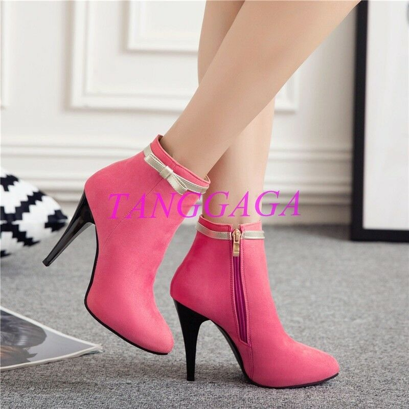 New Evening Party Womens Bowtie Ankle Boots Stiletto Pointed Toe Side Zip shoes