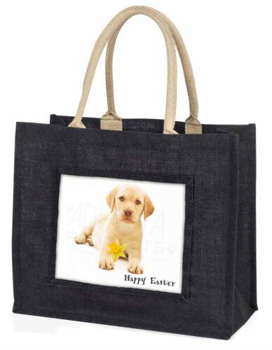 'Happy Easter' Goldie Puppy Large Black Shopping Bag Christmas Pres, ADL4DA1BLB