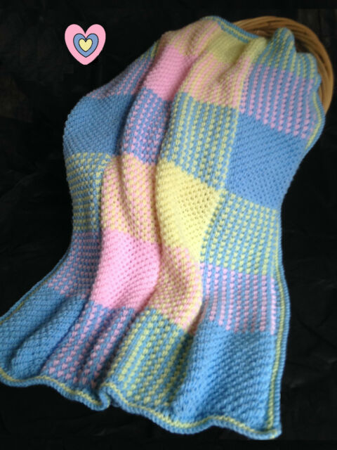 """Baby Blanket /Cot Cover """"Colourful squares"""" Knitting Pattern  Aran 28x37"""" 623"""