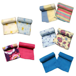 Details About Pack Of 2 Polar Fleece Baby Throw Rugs