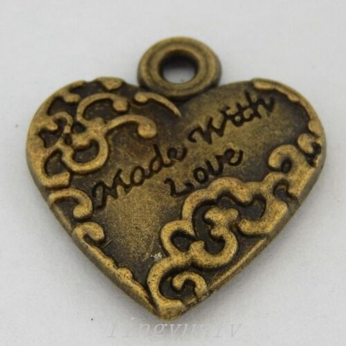 50334 Antique Bronze Alloy Love Heart Pendants Charms Findings Crafts 15pcs