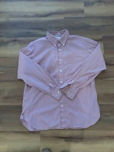 Men-s-J-CREW-Red-Striped-Button-Up-Shirt-Size-Large
