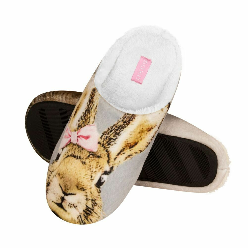 Ladies Bow Rabbit Photo Print Soft Deluxe Beige Fleece Open Back Mule Slippers