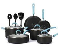 Cookware Set Nonstick Coating Kitchen Pot Pan Cooking Kitchen 13 Pcs Blue Handle