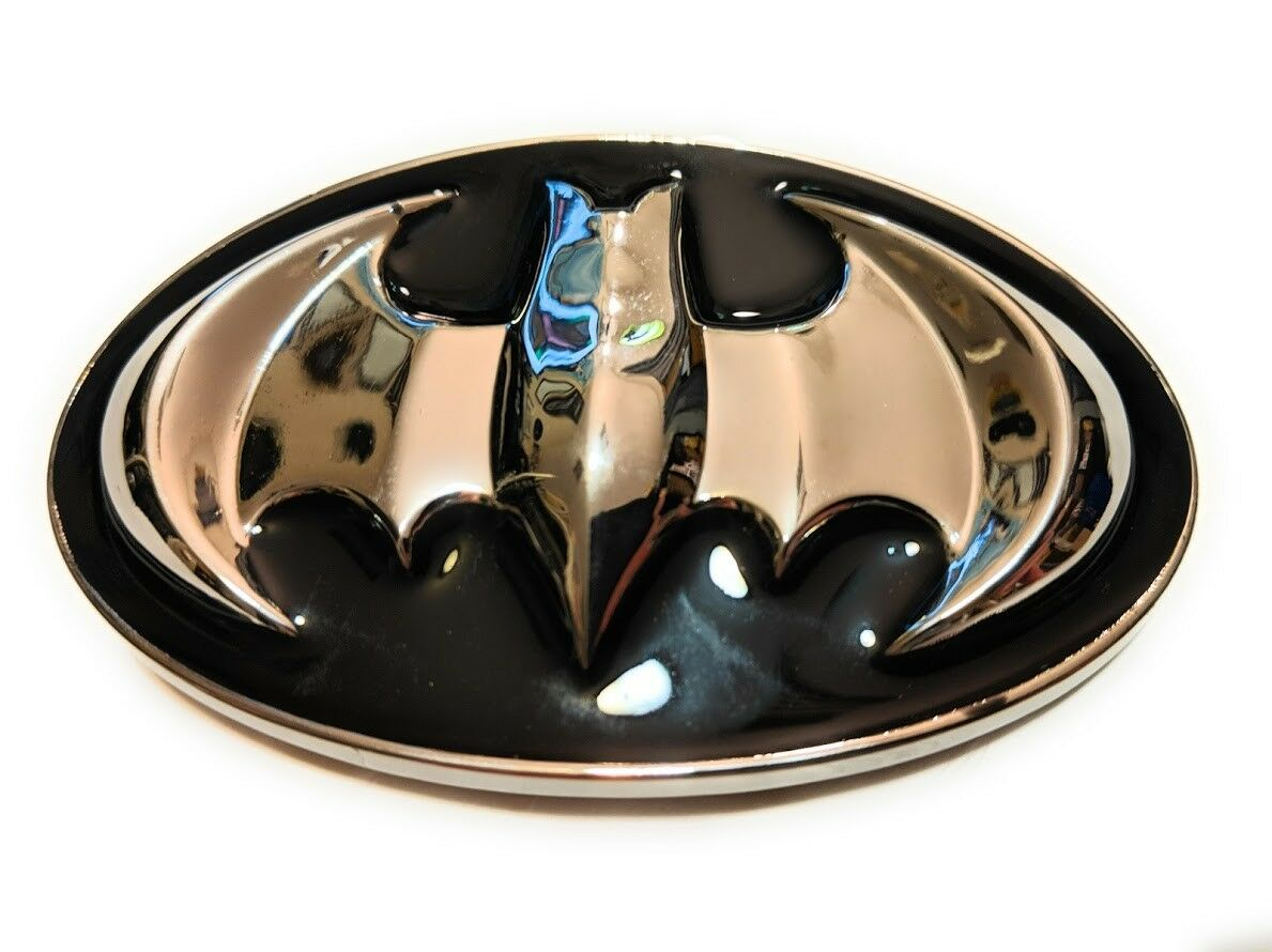 ~ NEW BATMAN Chrome and Black Raised detail METAL BELT BUCKLE ~ comic con
