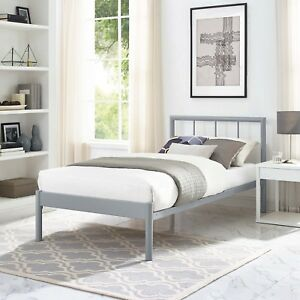 Details about Modern Farmhouse Steel Metal Twin Size Platform Bed Frame  With Slats in Gray