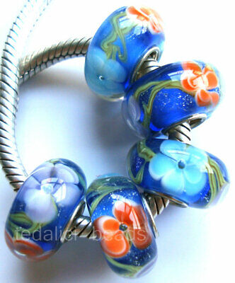 Wholesale Silver Lampwork Murano glass beads Fit European Charm Bracelet TF353