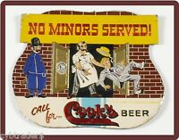 Cook's Beer Sign 1950's No Minors Refrigerator / Tool Box Magnet Man Cave