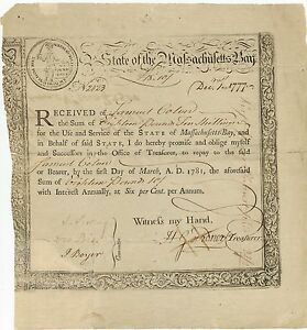 RARE-State-of-Massachusetts-Bay-State-Treasury-Certificate-Dec-1-1777-18-Pounds