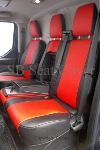 POPPY RED LEATHERETTE 2013 SWB TO FIT A FORD TRANSIT CUSTOM VAN SEAT COVERS