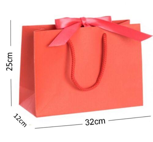 Red Medium boutique shop Ruban Sacs Cadeau-Corde Poignée mariage poule événements Sac