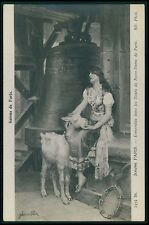 Art JEHANNE Lamb Goat Notre Dame Lady Tower Bell original 1910s postcard SALON