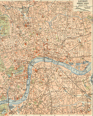 London vintage map - VINTAGE ADVERTISING ENAMEL METAL TIN SIGN WALL PLAQUE