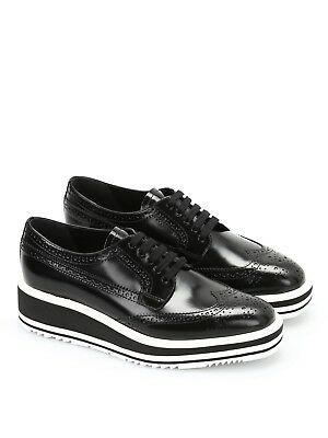 67be59e6c2d 100% Authentic Prada Black Leather Platform Derby Shoes Size 36