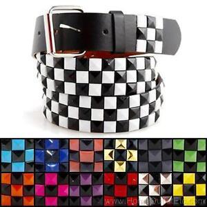 3-Row-Metal-Pyramid-Studded-Leather-Belt-2-Tone-Checker-Punk-Rock-Goth-Emo-Biker