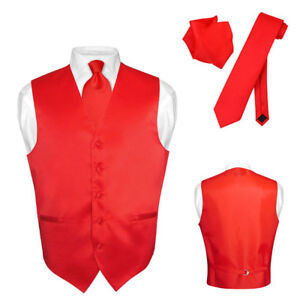 Men-039-s-Dress-Vest-NeckTie-Hanky-Solid-RED-Color-Neck-Tie-Set-for-Suit-or-Tuxedo