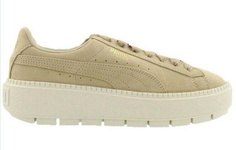Puma Trace Platform Suede Sneakers 365830 02 Femme US 8.5 Beige Safari NEW 110