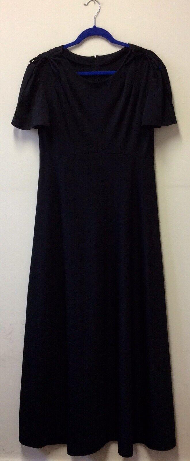 1970s Black Polyester Jersey Maxi Dress UK 12