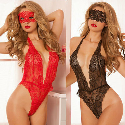 Sexy Ladies Lingerie Mesh Sheer Stretch Lace Teddy Thong Bodysuit One Piece