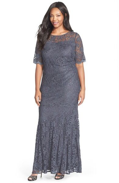 New 219 Xscape Silver Grey Shimmer Lace Sheath Mermaid Gown Dress