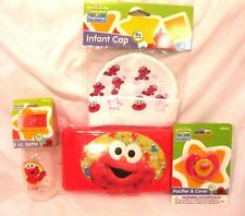 Sesame Street Elmo Infant Cap,Bottle,Pacifier,and Wipers Travel Case-Brand New!