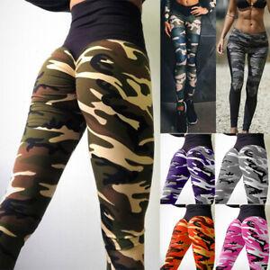 Womens Camo Seamless Leggings High Waist Gym Run Jogging Fitness Yoga Pants