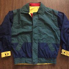 Men's Vintage Gant Color Block Green Yellow Windbreaker Reversible Jacket Sz M