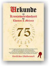 Kronjuwelenhochzeit Urkunde zum 75. Hochzeitstag Geschenk Kronjuwelen Hochzeit