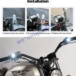 12V Motorrad Lenker Licht LED Scheinwerfer Zusatzscheinwerfer Weiß 2x ATV Quad