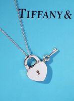Tiffany & Co Sterling Silver Heart & Key Padlock Charm Necklace