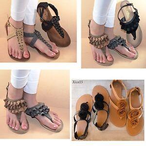 Women-039-s-Sandals-T-Strap-Thong-Gladiator-Flat-Flip-Flop-Buckle-Strap-Shoes