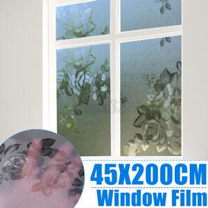 Fensterfolie-Milchglasfolie-Sichtschutzfolie-Blickdicht-Blumen-Muster-PVC-45x200