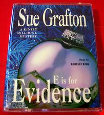 Sue Grafton E Is For Evidence Kinsey Millhone 2-Tape Audio Bk Lorelei King Crime